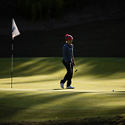 26 March 2018: Haleigh Krause walks up to her ball on the fifth green during the opening round of the March Mayhem Tournament hosted by SDSU at the Farms Golf Club in Rancho Santa Fe, California. <br /> More game action at sdsuaztecphotos.com