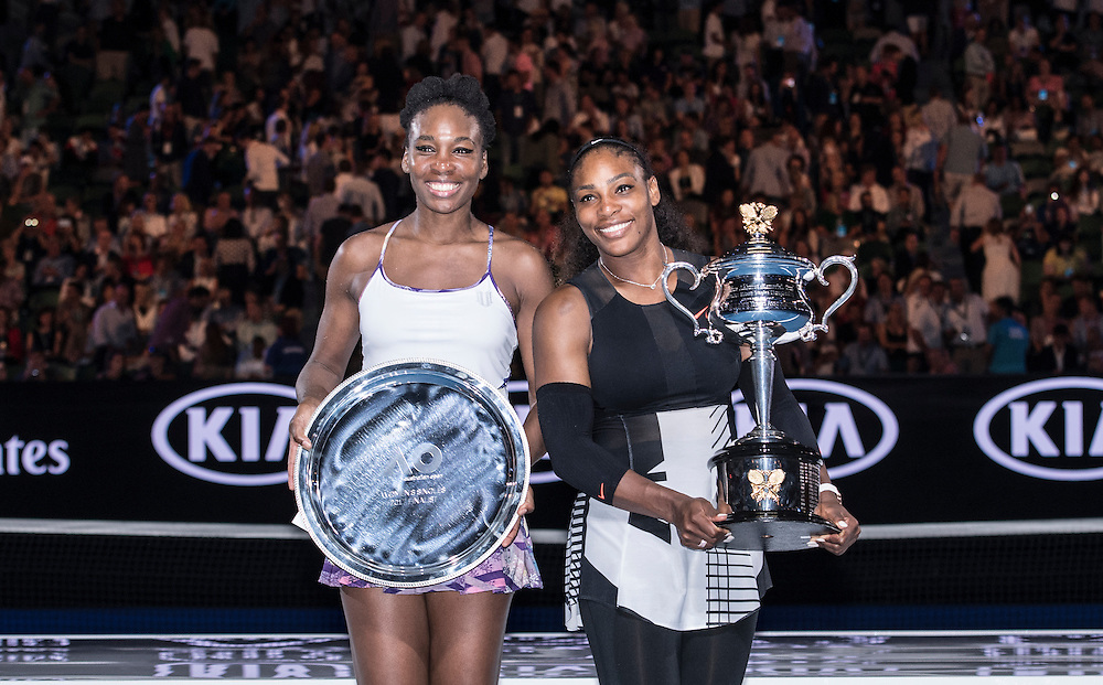 Venus and Serena Williams of the United States after the women's final on day thirteen of the 2017 Australian Open at Melbourne Park on January 28, 2017 in Melbourne, Australia.<br /> (Ben Solomon/Tennis Australia)