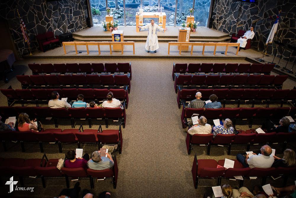 The Rev. Kenton Birtell, pastor, leads worship on Sunday, April 12, 2015, at Mount Calvary Lutheran Church in Holdrege, Neb. LCMS Communications/Erik M. Lunsford