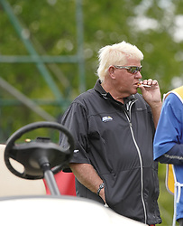May 24, 2019 - Benton Harbor, NY, U.S. - ROCHESTER, NY - MAY 24: John Daly takes a cigarette break in between shots during the second round of the KitchenAid Senior PGA Championship at Oak Hill Country Club on May 24, 2019 in Rochester, New York. (Photo by Jerome Davis/Icon Sportswire) (Credit Image: © Jerome Davis/Icon SMI via ZUMA Press)