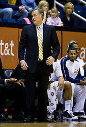 February 27, 2010; Berkeley, CA, USA;  California Golden Bears head coach Mike Montgomery during the first half against the Arizona State Sun Devils at Haas Pavilion.  California defeated Arizona State 62-46