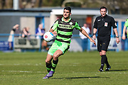 Forest Green Rovers Omar Bugiel(11) on the ball during the Vanarama National League match between Guiseley  and Forest Green Rovers at Nethermoor Park, Guiseley, United Kingdom on 8 April 2017. Photo by Shane Healey.