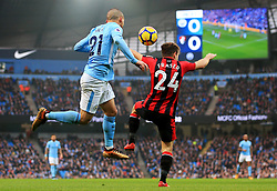 David Silva of Manchester City challenges Ryan Fraser of Bournemouth - Mandatory by-line: Matt McNulty/JMP - 23/12/2017 - FOOTBALL - Etihad Stadium - Manchester, England - Manchester City v Bournemouth - Premier League