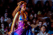 A model presents a creation by Indian designer Ranna Gill  during the Lakme India Fashion Week in New Delhi, India, Thursday, April 21, 2005. India's largest-ever fashion show which runs into its sixth year, attracts scores of interbational buyers. (AP Photo/Sebastian John)