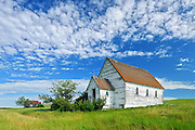 Old church in ghost town<br /> Neidpath<br /> Saskatchewan<br /> Canada