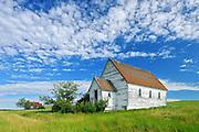 Old church in ghost town<br /> Neidpath<br /> Saskatchewan<br /> Canada