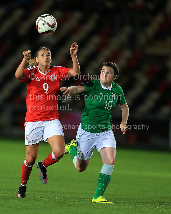 Kayleigh Green of Wales is challenged by Tiegan Ruddy of Rep of Ireland. Friendly International Womens football, Wales Women v Republic of Ireland Women at Rodney Parade in Newport, South Wales on Friday 19th August 2016.<br /> pic by Andrew Orchard, Andrew Orchard sports photography.
