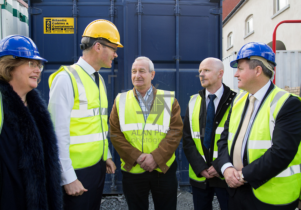 24.04.2017.       <br /> Minister for Housing Simon Coveney visiting the Lord Edward Street site in Limerick, where 81 units for social housing are nearing completion as part of the Limerick Regeneration programme.  57 of which are elderly units (1 and 2 bed apts and 2 bed houses) with the remainder (24) being family homes (3 bed)​. <br /> <br /> Pictured at the event were Senator Maria Byrne, Minister for Housing Simon Coveney, Fisherman Quay residents, Andy Mowat and Alan McCarthy with Senator Kieran O'Donnell. Picture: Alan Place.