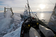 Ships collide as Sea Shepherd's M/Y Steve Irwin, foreground, crashes into Japanese harpoon ship, the Yushin Maru No. 3, during a clash in Antarctica's Ross Sea on Friday, Feb. 6, 2009. Japanese crews accused Sea Shepherd of recklessly ramming their vessel, while Sea Shepherd Captain Paul Watson in return blamed the whaling fleet for disorienting him with LRADs (long-range acoustic weapons). The ensuing media war is as real as the battle fought on the water. (Photo by Adam Lau)