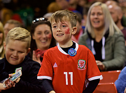 CARDIFF, WALES - Thursday, October 11, 2018: A young Wales supporter during the International Friendly match between Wales and Spain at the Principality Stadium. (Pic by Lewis Mitchell/Propaganda)