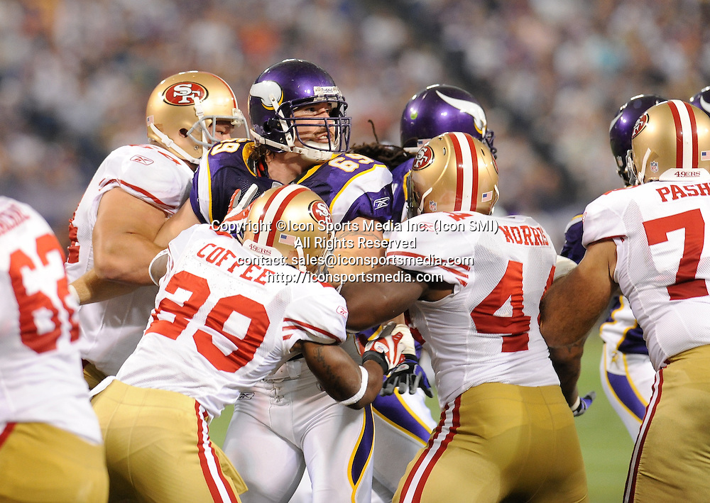 Minnesota Vikings defensive end Jared Allen #69 surrounded by 49ers defense during the Vikings 27-24 victory over the San Francisco 49ers at the Metrodome in Minneapolis, MN on September 27, 2009.