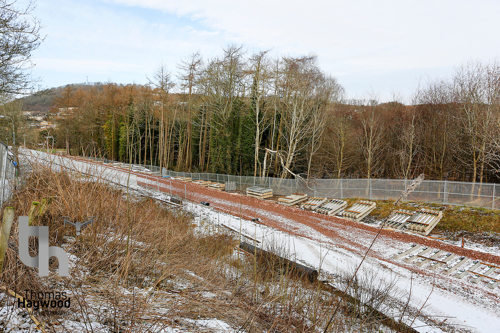 The trackbed at Tweedbank awaits the final sleepers on 4th Feb 2015