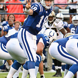 26 August 2006: Indianapolis Colts quarterback Peyton Manning (18) under center during a NFL preseason game between the Indianapolis Colts against the New Orleans Saints at Veterans Memorial Stadium in Jackson, Mississippi.