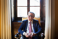 SIENA, ITALY - 20 MARCH 2015: Angelo Riccaboni, dean of the University of Siena, is interviewed in his office  in Siena, Italy, on March 20th 2015.<br /> <br /> Siena, a Tuscan city and UNESCO World Heritage Site, is home to Monte dei Paschi di Siena, the world's oldest surviving bank and Italy's third largest bank. The bank, founded in 1472, was the largest employer in Siena, and it helped finance a host of community projects and services until it stumbled during the financial crisis started in 2008.