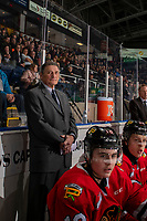 KELOWNA, BC - FEBRUARY 8: Portland Winterhawks' assistant coach Don Hay stands on the bench at the Kelowna Rockets at Prospera Place on February 8, 2020 in Kelowna, Canada. (Photo by Marissa Baecker/Shoot the Breeze)