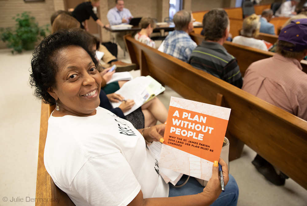 Sharon Lavigne at an appeal hearing of a permit granted for Wanhua at the St James Parish Council Meeting on July 24, 2019.  Wanhua plans to build a  $1.25 Billion Chemical Complex t in St. James Parish but a group of residents in the parish are fighitng against it.  THe Tulane Environmental Law Clinic (TELC) is representing community members, RISE St. James and the Louisiana Bucket Brigade in a fight to stop the plant from being permitted.
