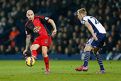 Jonjo Shelvey of Swansea City passes past Darren Fletcher of West Brom - Photo mandatory by-line: Rogan Thomson/JMP - 07966 386802 - 11/02/2015 - SPORT - FOOTBALL - West Bromwich, England - The Hawthorns - West Bromwich Albion v Swansea City - Barclays Premier League.