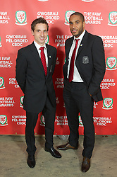 CARDIFF, WALES - Monday, October 8, 2012: Wales' new captain Ashley Williams with Player-of-the-Year Joe Allen before the FAW Player of the Year Awards Dinner at the National Museum Cardiff. (Pic by David Rawcliffe/Propaganda)
