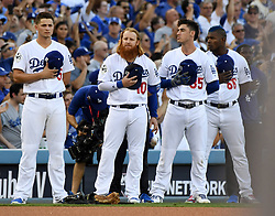 October 25, 2017 - Los Angeles, California, U.S. - Los Angeles Dodgers' Corey Seager (5) along with teammates Justin Turner (10) Cody Bellinger (35) and Yasiel Puig during the National Anthem prior to game two of a World Series baseball game against the Houston Astros at Dodger Stadium on Wednesday, Oct. 25, 2017 in Los Angeles. (Photo by Keith Birmingham, Pasadena Star-News/SCNG) (Credit Image: © San Gabriel Valley Tribune via ZUMA Wire)