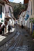 A narrow street in Cusco Peru