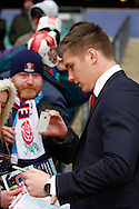 Picture by Andrew Tobin/Focus Images Ltd +44 7710 761829.10/03/2013.  Owen Farrell of England, sidelined by injury, signs autographs for fans before the RBS 6 Nations match at Twickenham Stadium, Twickenham.