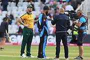 Dan Christian of Nottinghamshire Outlaws and Moeen Ali of Worcestershire Rapids ready for the coin toss during the Vitality T20 Blast North Group match between Nottinghamshire County Cricket Club and Worcestershire County Cricket Club at Trent Bridge, West Bridgford, United Kingdon on 18 July 2019.
