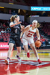 NORMAL, IL - February 27: Abby Hipp and Megan Talbot during a college women's basketball game between the ISU Redbirds and the Bears of Missouri State February 27 2020 at Redbird Arena in Normal, IL. (Photo by Alan Look)