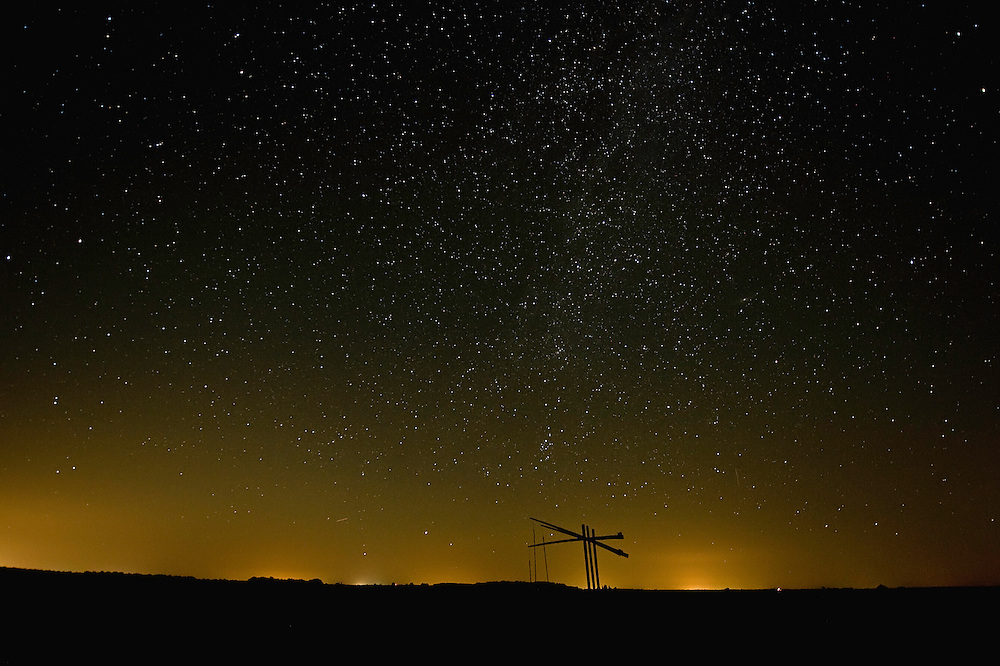 Water well under a starry sky, Hortobagy National Park, Hungary