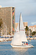 A sailboat sails into the Ala Wai Boat Harbor in Honolulu, Hawaii.