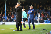 Bradford City Manager Stuart McCall looking on with Southend United manager Phil Brown shouting during the EFL Sky Bet League 1 match between Southend United and Bradford City at Roots Hall, Southend, England on 19 November 2016. Photo by Matthew Redman.
