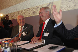 BRUSSELS, BELGIUM - AUGUST-6-2007 - Chairman of the Fortis Board of Directors, Count Maurice Lippens and Fortis Chief Executive Officer, Jean-Paul Votron, share a laugh before the start of an extraordinary shareholders meeting at the Bozar Center in Brussels, Monday August 6, 2007. (Photo © Jock Fistick)