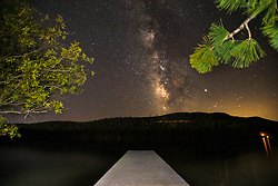 """""""Milky Way Above Donner Lake 3"""" - Photograph of the Milky Way, a dock, and trees above Donner Lake in Truckee, California."""