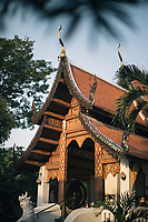 Chiang Mai, Thailand -- May 21, 2017: Early morning light on a small temple in the Old Town.