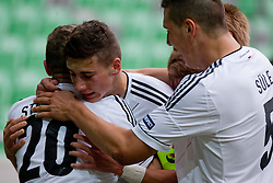 Players of Germany celebrate scoring a goal during the UEFA European Under-17 Championship Group A semifinal match between Germany and Poland on May 13, 2012 in SRC Stozice, Ljubljana, Slovenia. Germany defeated Poland 1:0. (Photo by Matic Klansek Velej / Sportida.com)