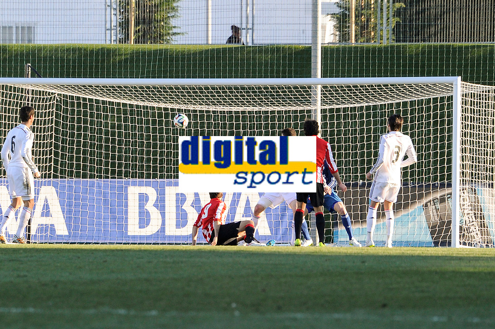 Real Madrid Castilla´s Noblejas and Athletic Club B's Santamaria and Lecue during 2014-15 Spanish Second Division match between Real Madrid Castilla and Athletic Club B at Alfredo Di Stefano stadium in Madrid, Spain. February 08, 2015. (ALTERPHOTOS/Luis Fernandez)