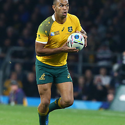 LONDON, ENGLAND - OCTOBER 31: Kurtley Beale of Australia during the Rugby World Cup Final match between New Zealand vs Australia Final, Twickenham, London on October 31, 2015 in London, England. (Photo by Steve Haag)