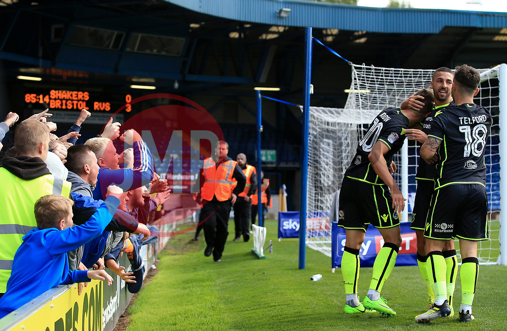Bristol Rovers players and fans celebrate - Mandatory by-line: Matt McNulty/JMP - 19/08/2017 - FOOTBALL - Gigg Lane - Bury, England - Bury v Bristol Rovers - Sky Bet League One