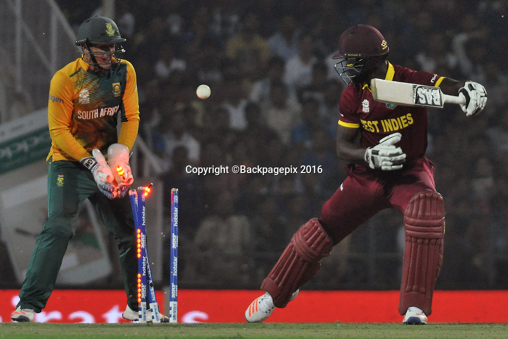 Darren Sammy of West Indies bowled by Imran Tahir of South Africa not in the picture during the 2016 ICC World T20 cricket match between South Africa and West Indies at Vidharbha Cricket Association, Jamtha, India on 25 March 2016 ©BackpagePix