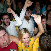 Date: 6/11/10..Fans react to the first (and only) goal scored by South Africa during the  2010 World Cup opening Group A match between South Africa and Mexico at Madiba, a South African restaurant in Fort Greene, Brooklyn on June 11, 2010.   The game finished in a 1-1 tie. ..Photo by Angela Jimenez for Newsweek .photographer contact 917-586-0916/angelajime@gmail.com