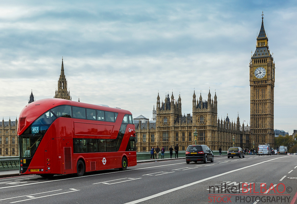 Big Ben and typical red bus. London, England, United kingdom, Europe.