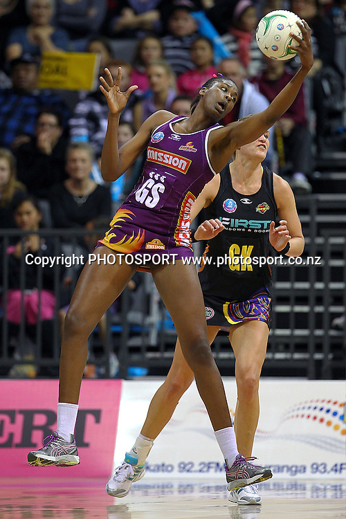 Firebirds' Romelda Aiken in action. ANZ Netball Championship, Waikato/Bay of Plenty Magic v Queensland Firebirds, Claudelands Arena, Hamilton, New Zealand. Monday 2nd July 2012. Photo: Anthony Au-Yeung / photosport.co.nz
