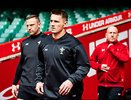 Hadleigh Parkes of Wales with team-mate Jonathan Davies<br /> <br /> Photographer Simon King/Replay Images<br /> <br /> Six Nations Round 3 - Captains Run - Wales v England - Saturday 22nd February 2019 - Principality Stadium - Cardiff<br /> <br /> World Copyright © Replay Images . All rights reserved. info@replayimages.co.uk - http://replayimages.co.uk