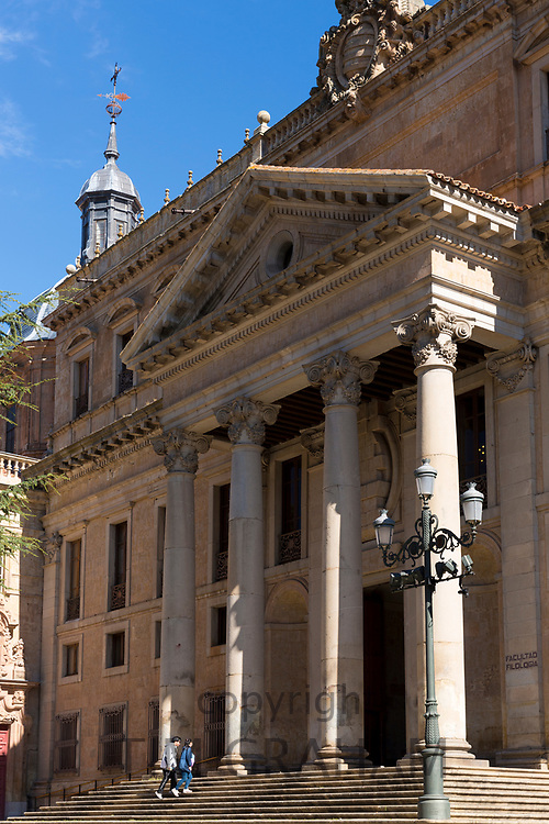 Students at University of Salamanca, Faculty of Philology - Languages in Plaza de Anaya, Spain