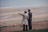 President Giscard d'Estang and Carter look at the Normandy Beaches on January 4, 1978<br /> Photo by Dennis Brack