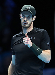 Andy Murray gives the thumps up in his match with Marin Cilic during day two of the Barclays ATP World Tour Finals at The O2, London.