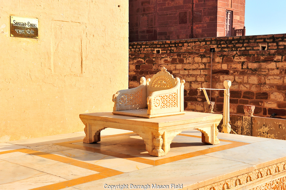 The throne of the Maharaja of Jodhpur in the Mehrangarh Fort at Dusk