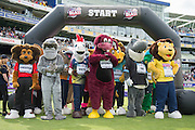 The Team mascots line up during the NatWest T20 Blast semi final match between Northamptonshire County Cricket Club and Warwickshire County Cricket Club at Edgbaston, Birmingham, United Kingdom on 29 August 2015. Photo by David Vokes.