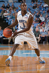 28 December 2006: North Carolina Tarheel guard (1) Marcus Ginyard during a 87-48 Rutgers Scarlet Knights loss to the North Carolina Tarheels, in the Dean Smith Center in Chapel Hill, NC.<br />