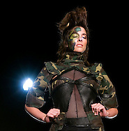 Omaha, NEB 9/19/09.A model with an Erica White designed piece that included camouflage...Chris Machian/The World-Herald