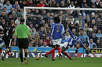 Photo: Lee Earle.<br /> Portsmouth v Charlton Athletic. The Barclays Premiership. 20/01/2007. Charlton's Amdy Faye (L) scores the opening goal.